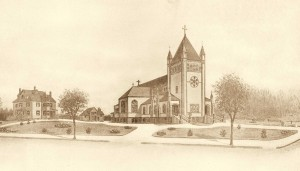 """The """"New"""" St. John church, circa 1905 - tower and transepts added, rectory and stable built."""