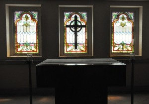 New Chapel - these windows were removed from the front of the tower when the center doors were added in 1957 and discovered in storage during the renovation.