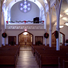 Choir loft over new gathering area