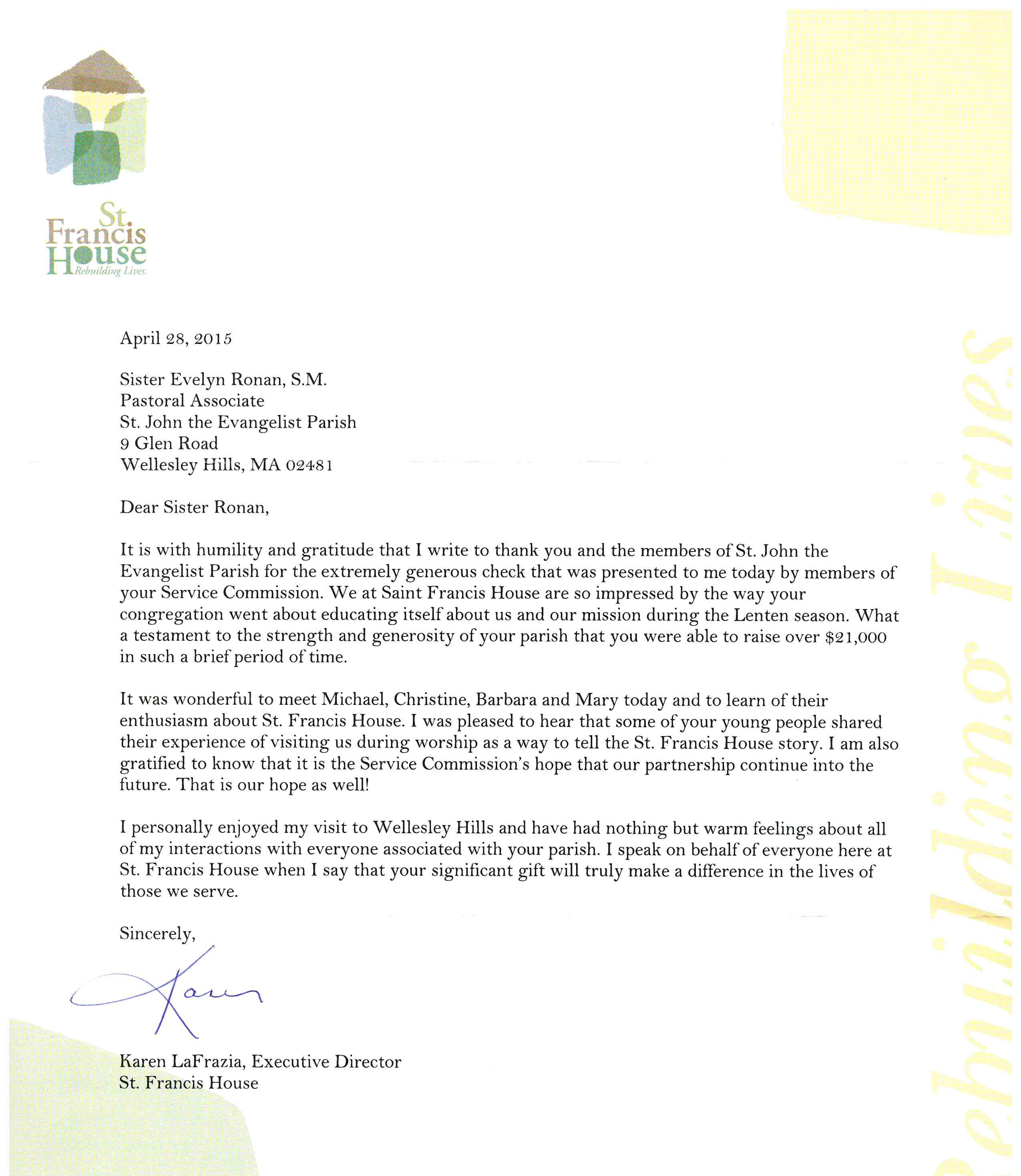 A thank you letter from st francis house to st john parish for stancisthankyou expocarfo